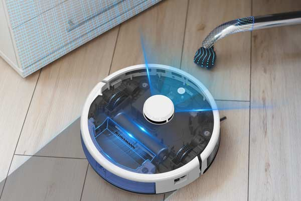 Machine for sweeping and mopping